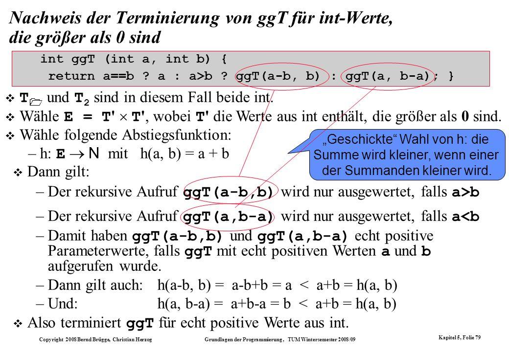 Nachweis der Terminierung von ggT für int-Werte, die größer als 0 sind
