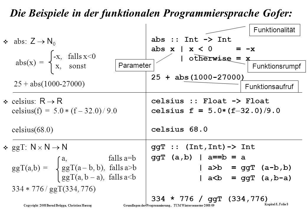 Die Beispiele in der funktionalen Programmiersprache Gofer: