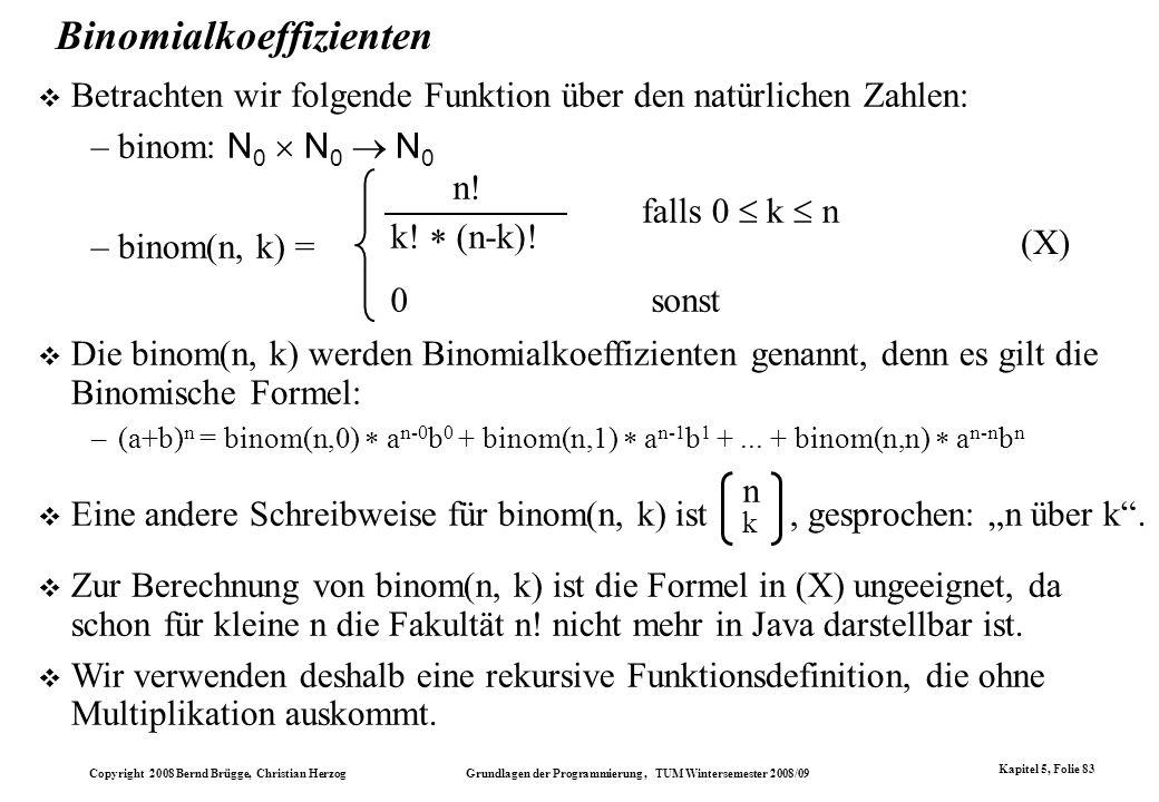 Binomialkoeffizienten
