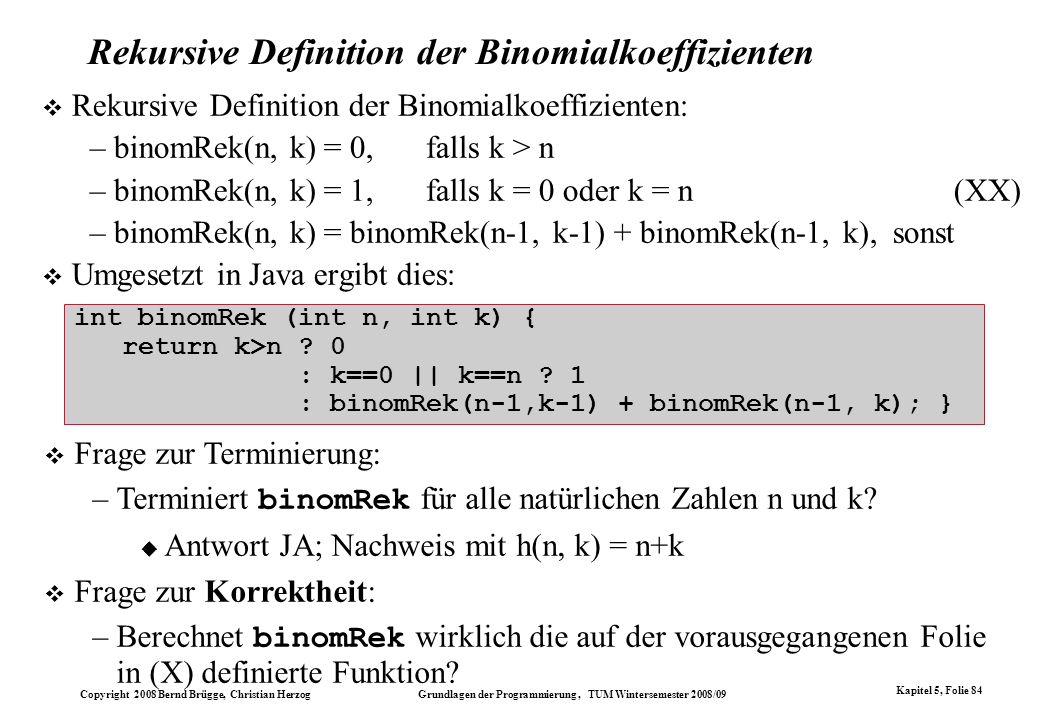 Rekursive Definition der Binomialkoeffizienten