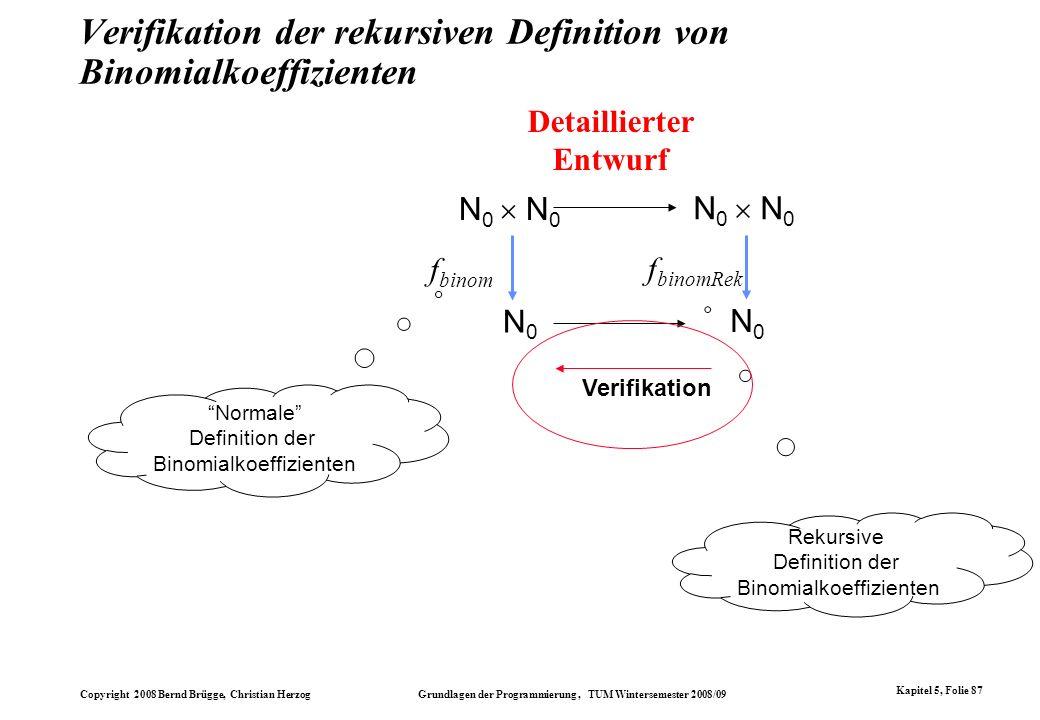 Verifikation der rekursiven Definition von Binomialkoeffizienten