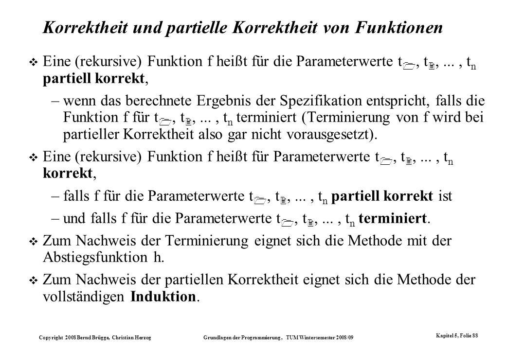 Korrektheit und partielle Korrektheit von Funktionen