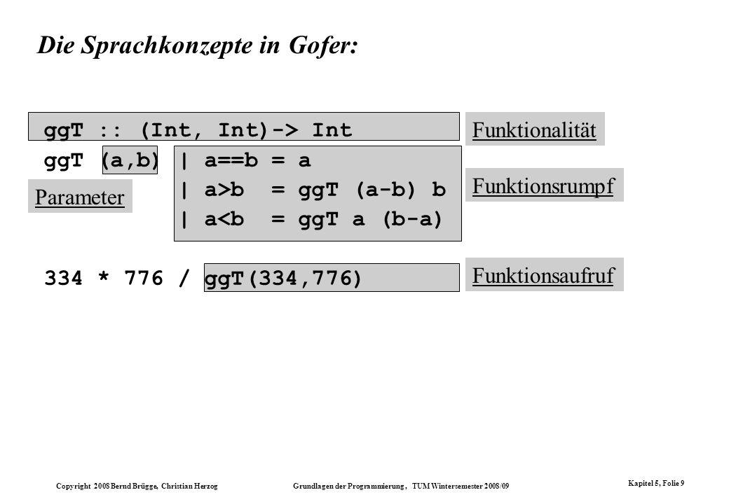 Die Sprachkonzepte in Gofer: