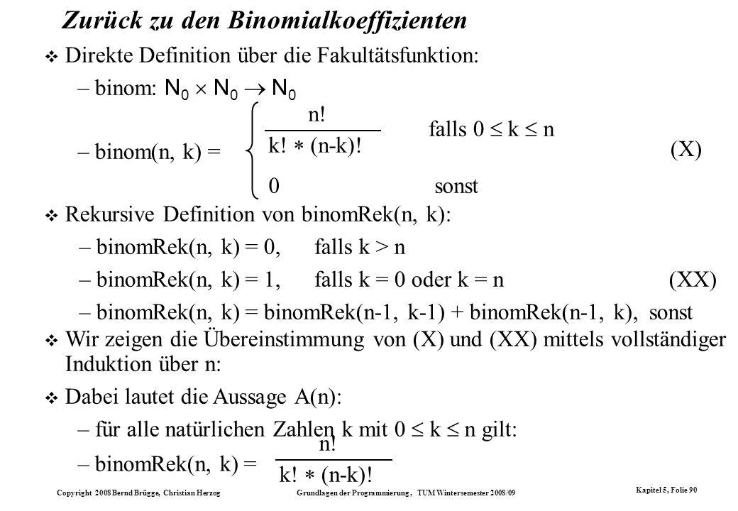 Zurück zu den Binomialkoeffizienten