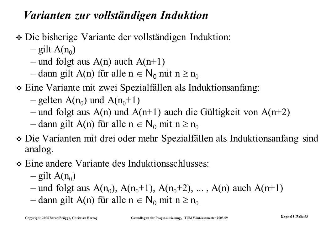 Varianten zur vollständigen Induktion