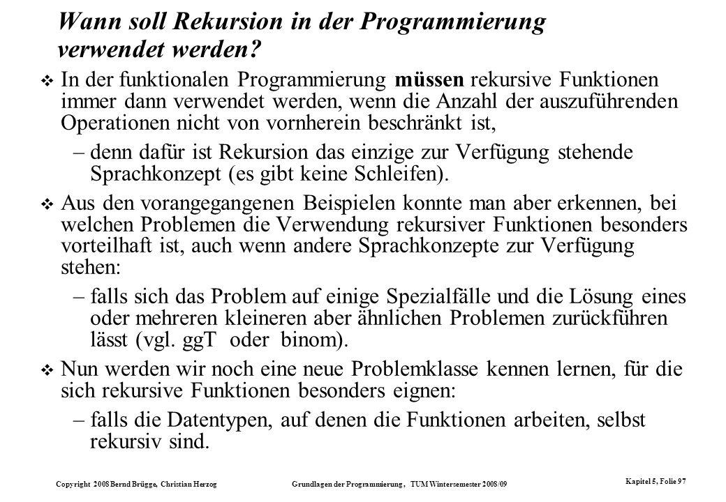 Wann soll Rekursion in der Programmierung verwendet werden