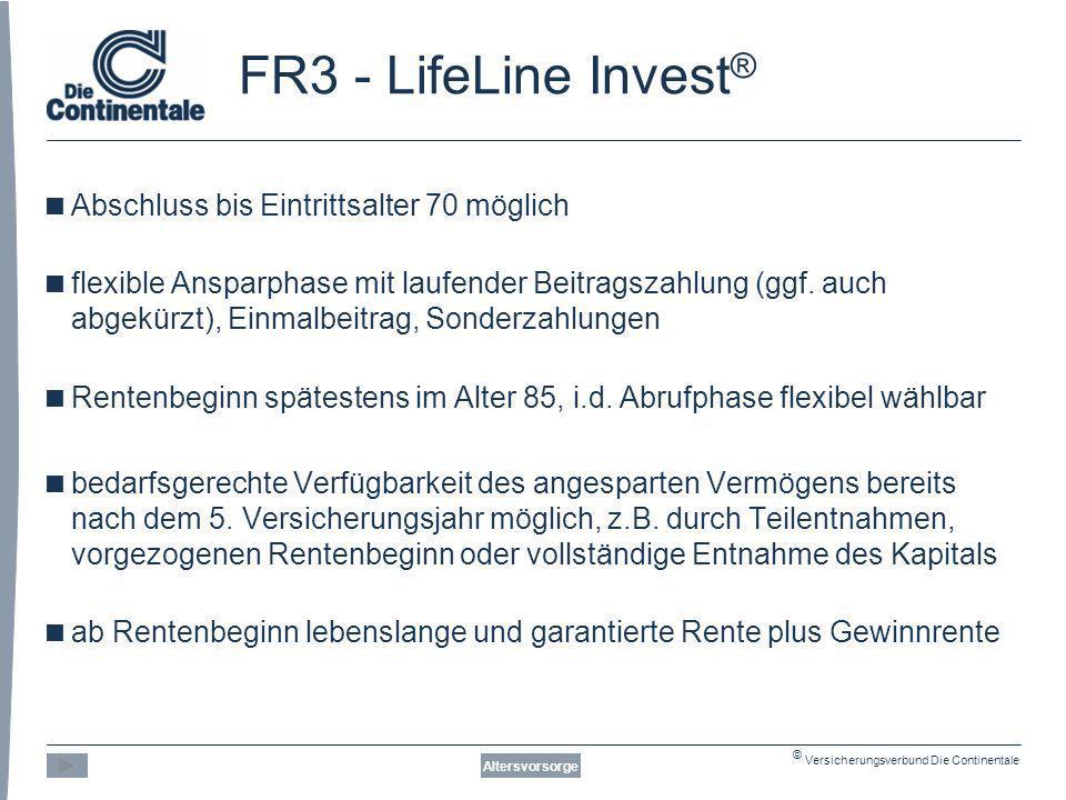 FR3 - LifeLine Invest® Abschluss bis Eintrittsalter 70 möglich