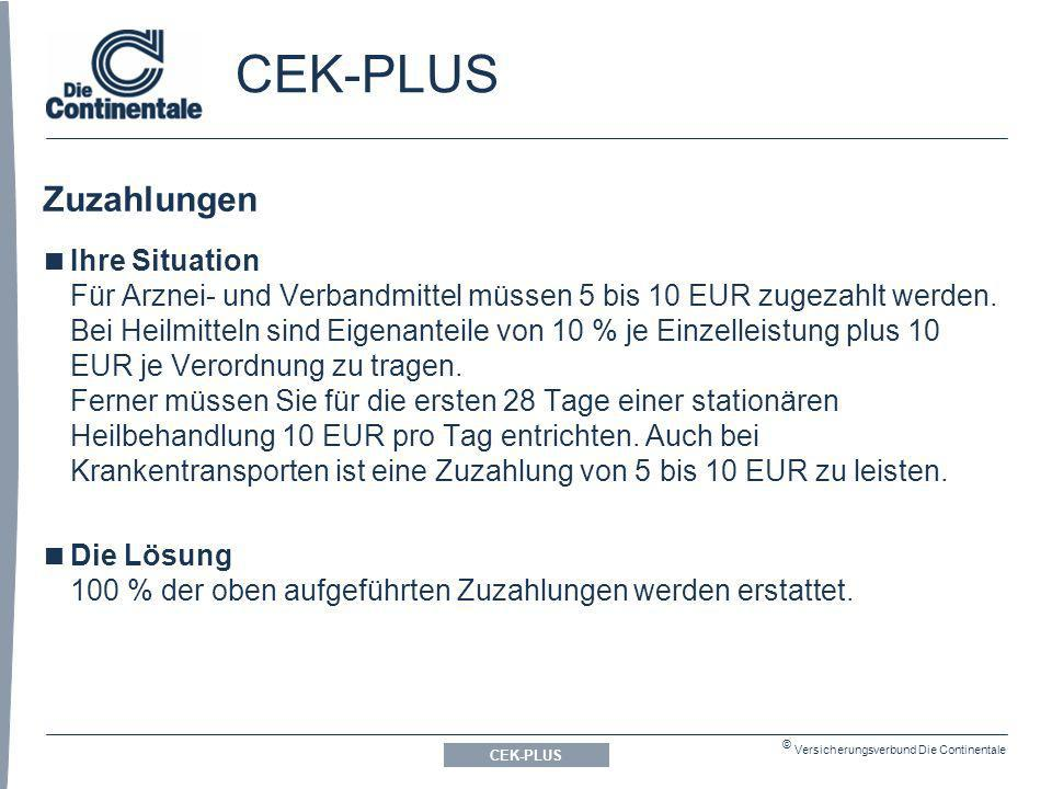 CEK-PLUS Zuzahlungen.