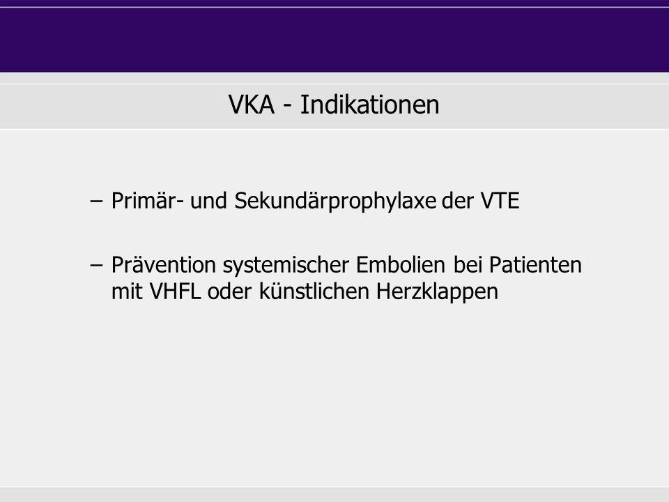 VKA - Indikationen Primär- und Sekundärprophylaxe der VTE
