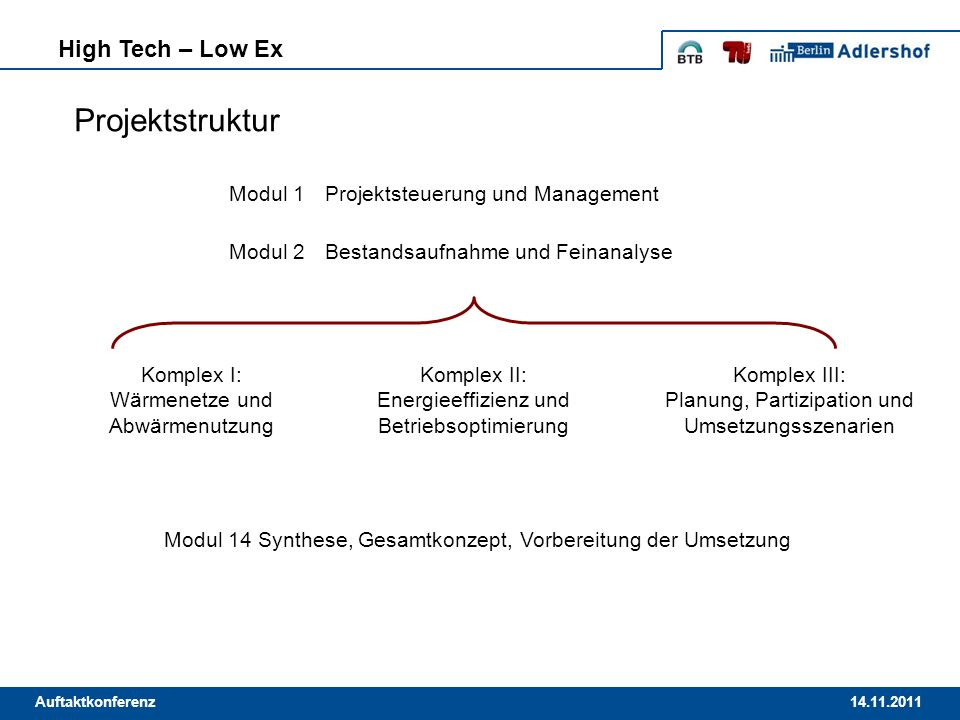 Projektstruktur High Tech – Low Ex