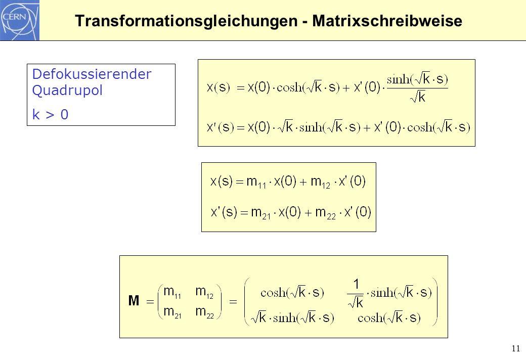 Transformationsgleichungen - Matrixschreibweise
