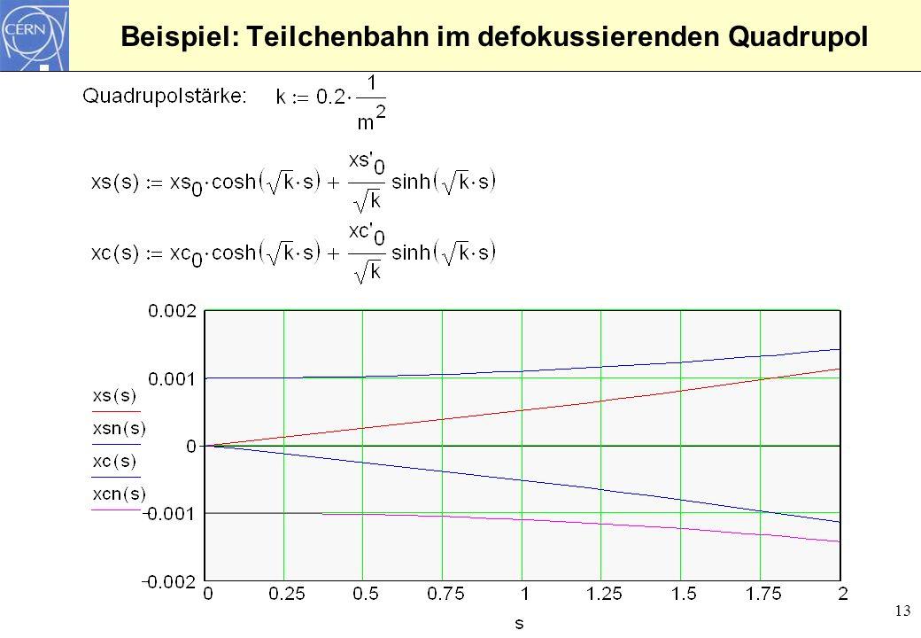 Beispiel: Teilchenbahn im defokussierenden Quadrupol