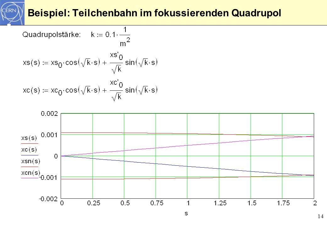 Beispiel: Teilchenbahn im fokussierenden Quadrupol