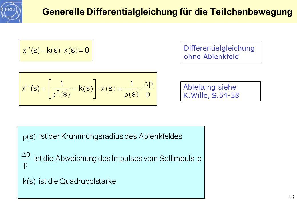 Generelle Differentialgleichung für die Teilchenbewegung