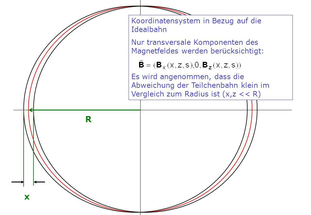 R x Koordinatensystem in Bezug auf die Idealbahn
