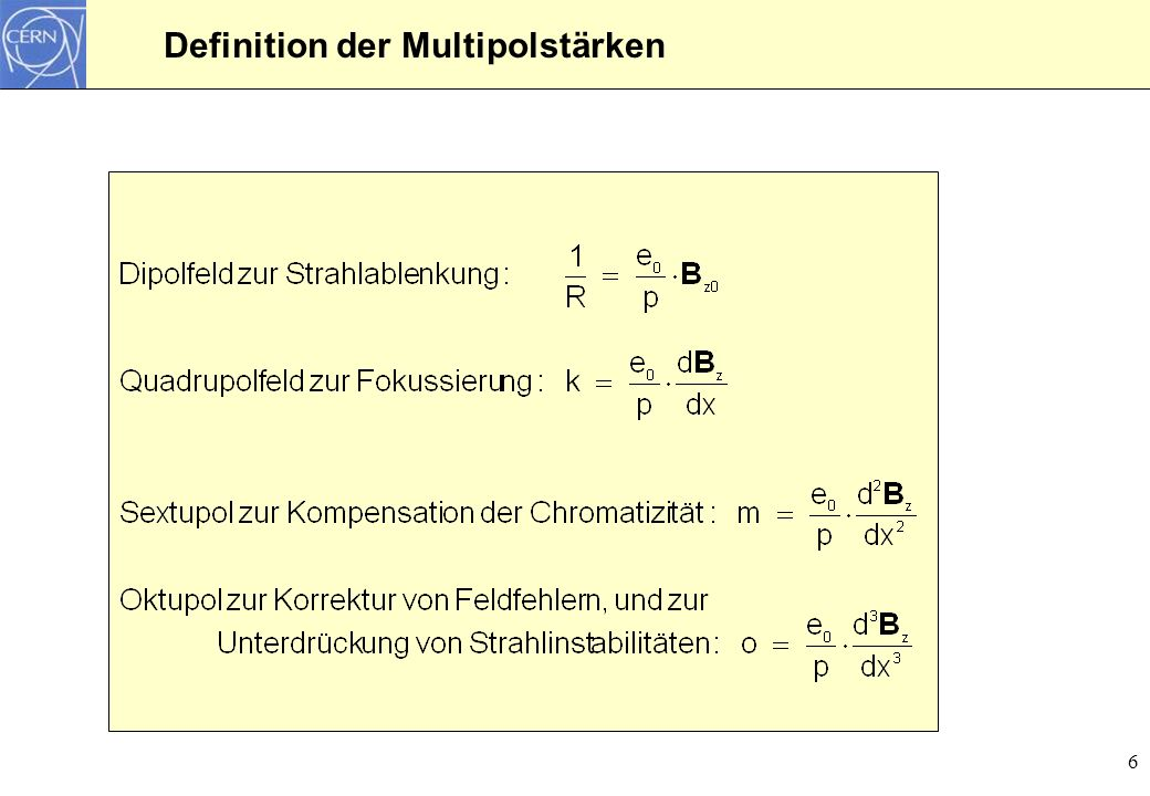 Definition der Multipolstärken