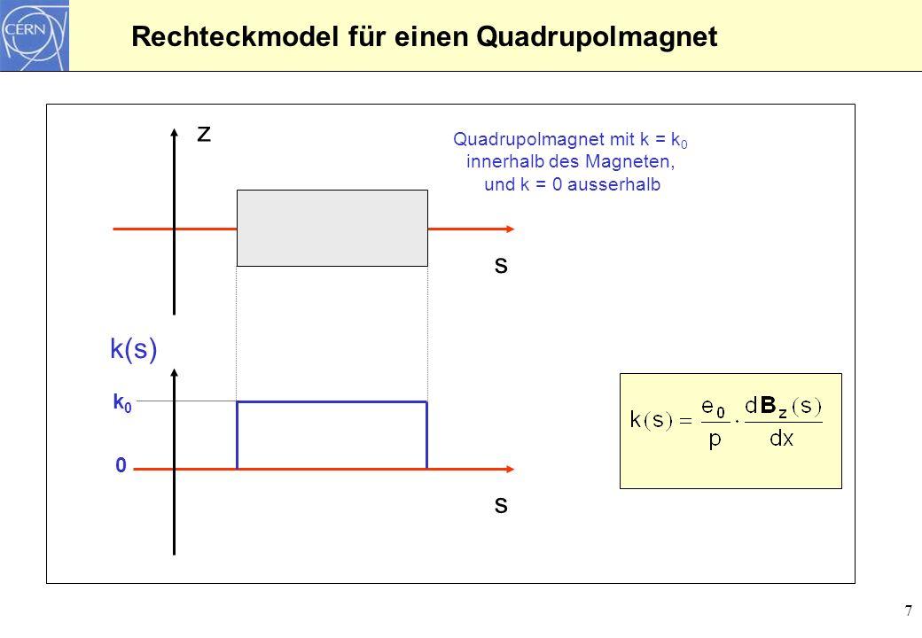 Rechteckmodel für einen Quadrupolmagnet