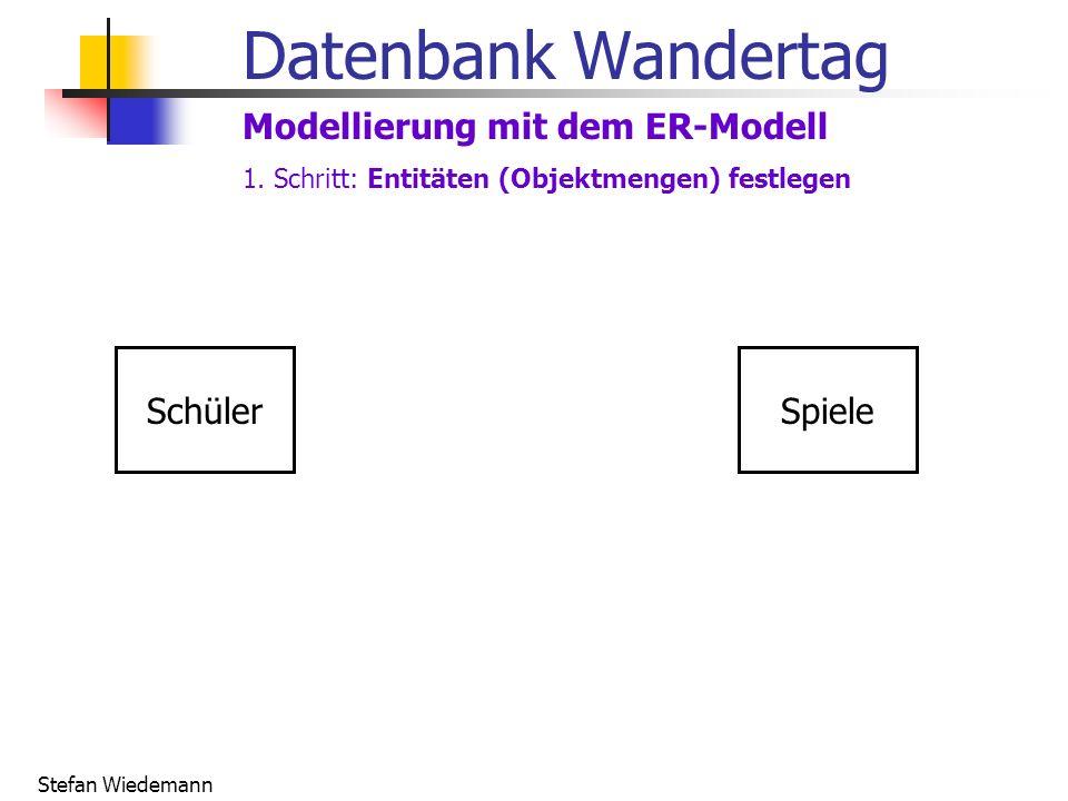 Datenbank Wandertag Modellierung mit dem ER-Modell Schüler Spiele