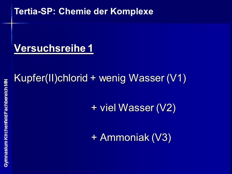 Versuchsreihe 1 Kupfer(II)chlorid + wenig Wasser (V1) + viel Wasser (V2) + Ammoniak (V3)