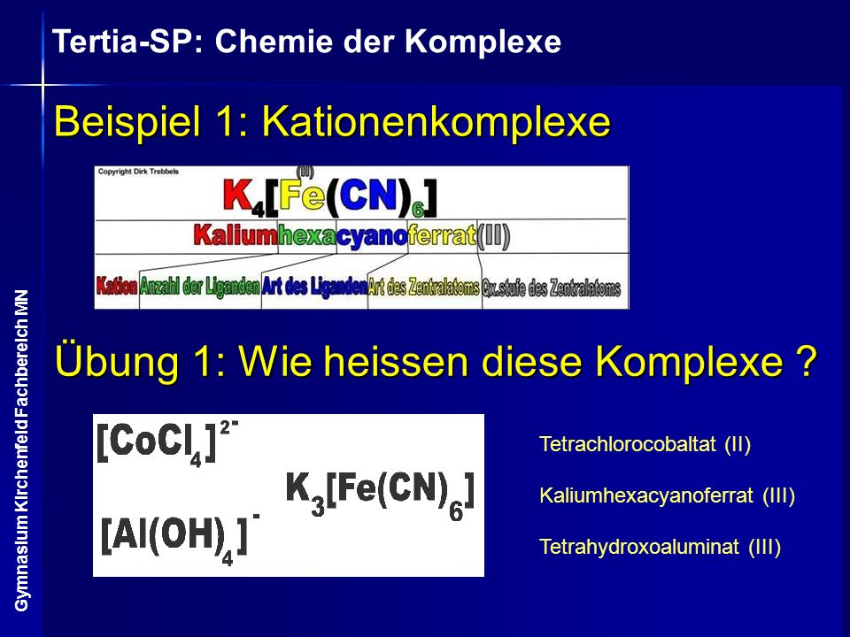Beispiel 1: Kationenkomplexe