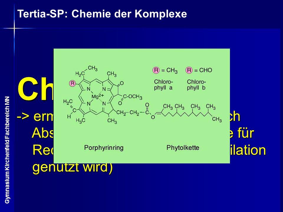Chlorophyll a -> ermöglicht Photosynthese (durch Absorption von Lichtenergie, die für Redoxprozesse der CO2-Assimilation genutzt wird)