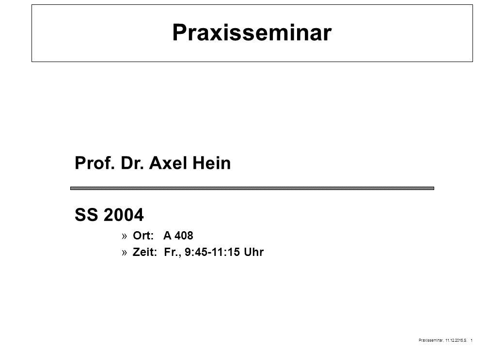 Praxisseminar Prof. Dr. Axel Hein SS 2004 Ort: A 408