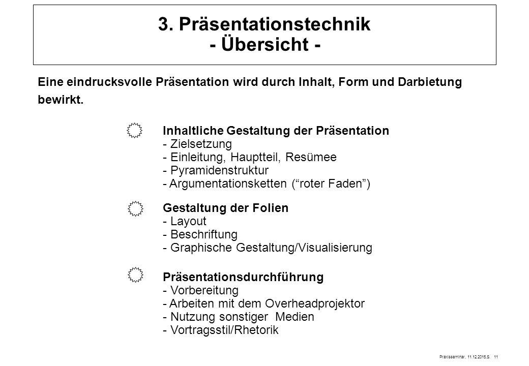 3. Präsentationstechnik - Übersicht -