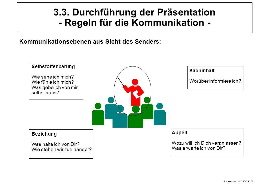 3.3. Durchführung der Präsentation - Regeln für die Kommunikation -
