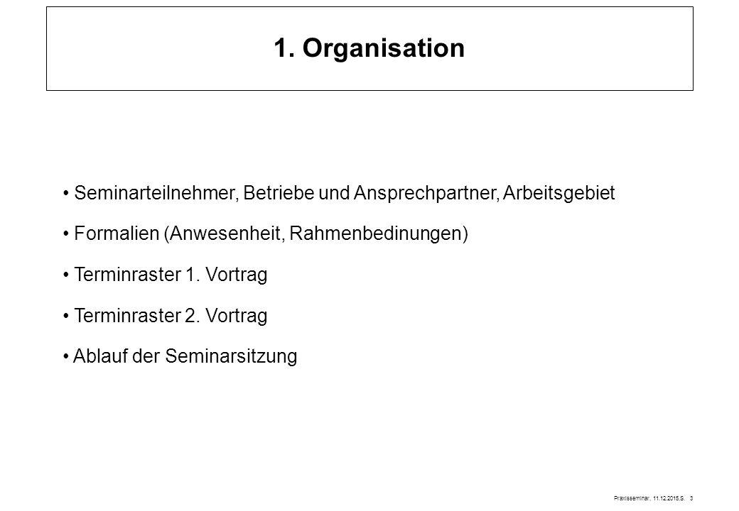 1. Organisation Seminarteilnehmer, Betriebe und Ansprechpartner, Arbeitsgebiet. Formalien (Anwesenheit, Rahmenbedinungen)