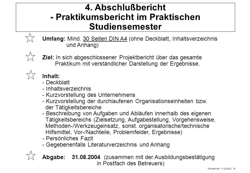 4. Abschlußbericht - Praktikumsbericht im Praktischen Studiensemester
