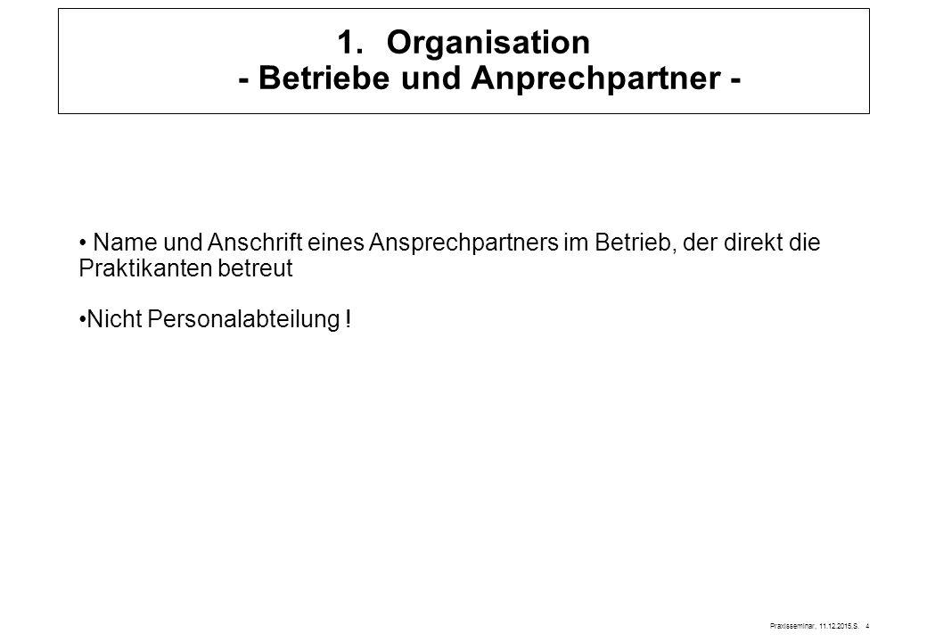 Organisation - Betriebe und Anprechpartner -
