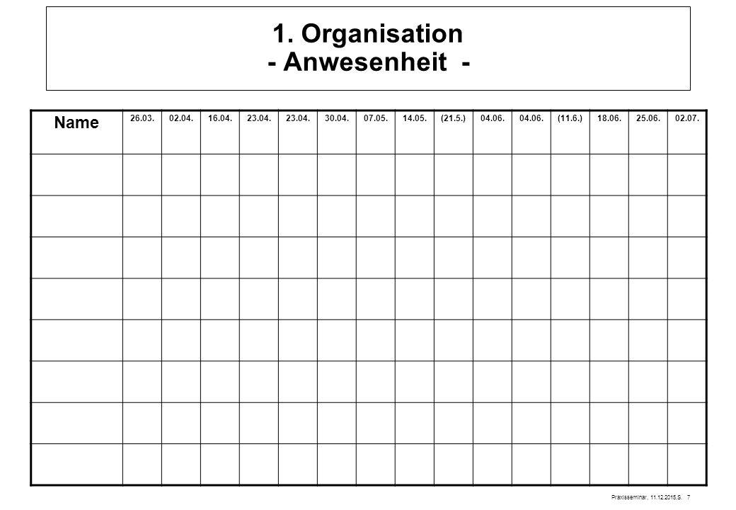1. Organisation - Anwesenheit -