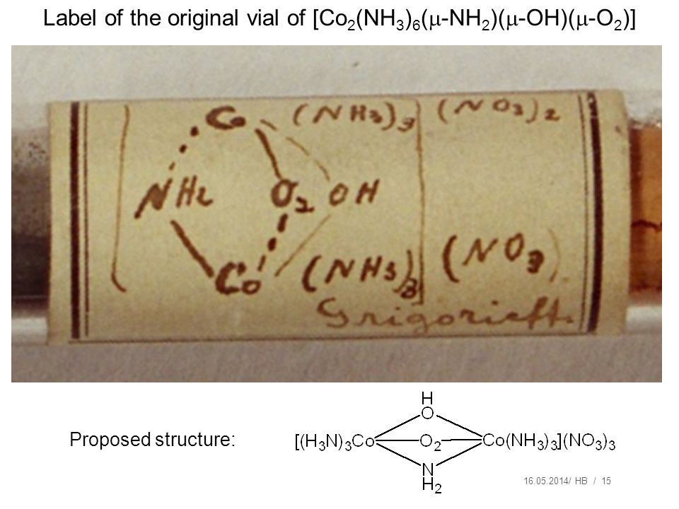 Label of the original vial of [Co2(NH3)6(-NH2)(-OH)(-O2)]