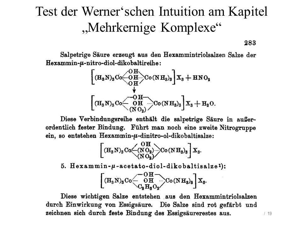 """Test der Werner'schen Intuition am Kapitel """"Mehrkernige Komplexe"""