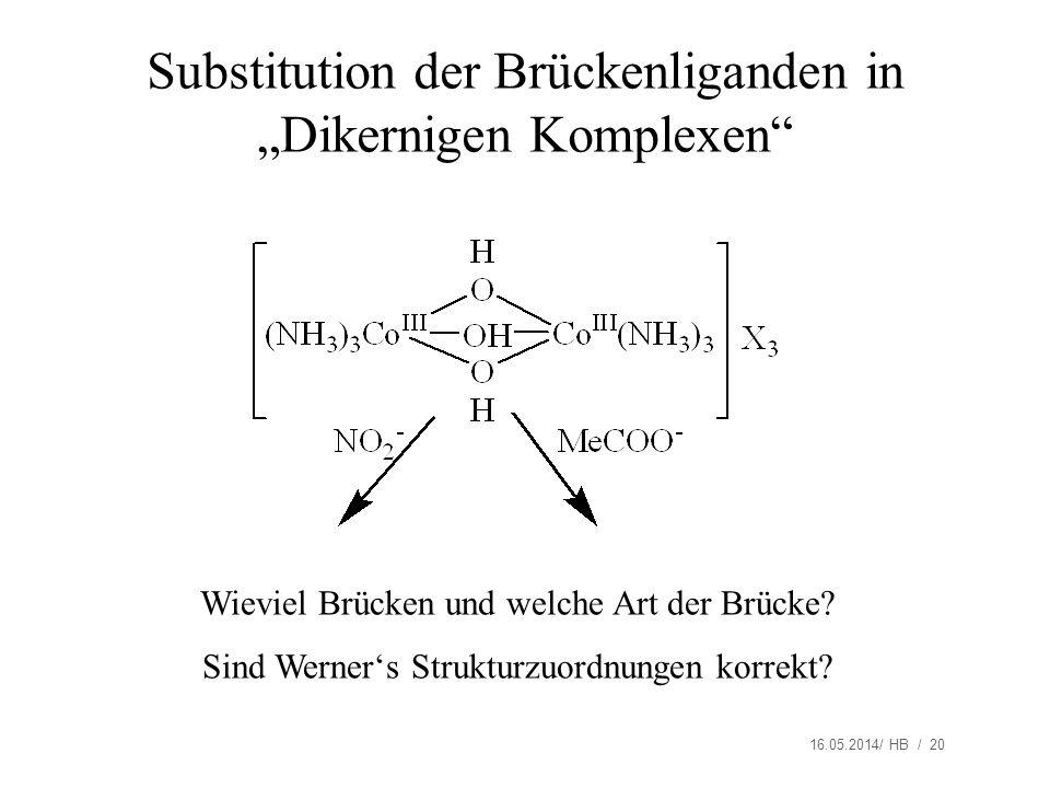 """Substitution der Brückenliganden in """"Dikernigen Komplexen"""