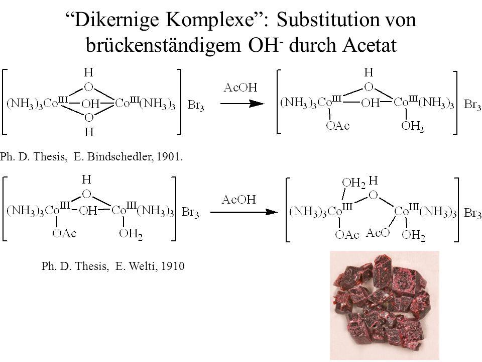 Dikernige Komplexe : Substitution von brückenständigem OH- durch Acetat