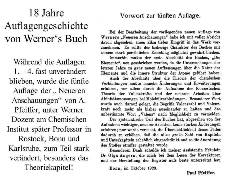 18 Jahre Auflagengeschichte von Werner's Buch
