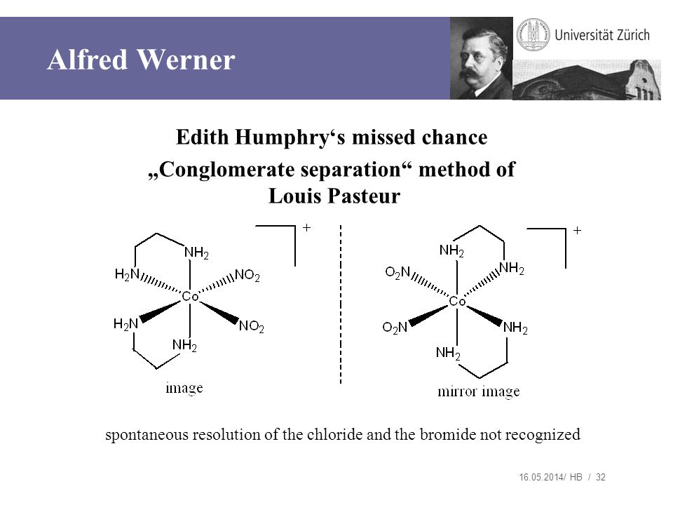 "Alfred Werner Edith Humphry's missed chance ""Conglomerate separation method of Louis Pasteur"