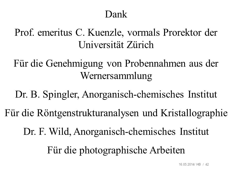 Prof. emeritus C. Kuenzle, vormals Prorektor der Universität Zürich