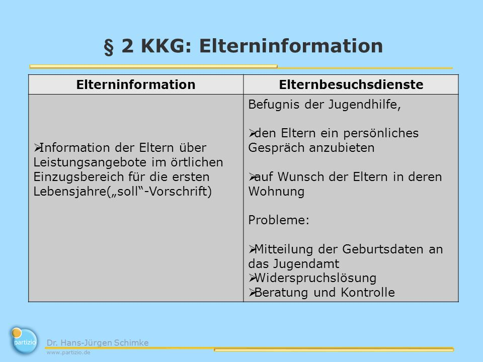 § 2 KKG: Elterninformation