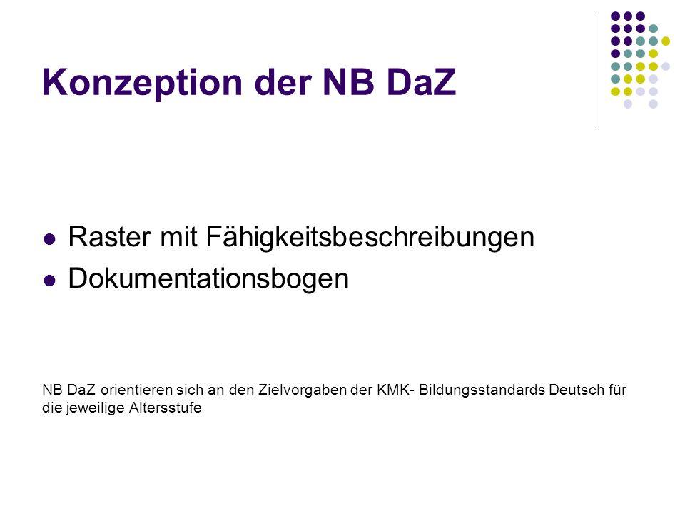 Konzeption der NB DaZ Raster mit Fähigkeitsbeschreibungen