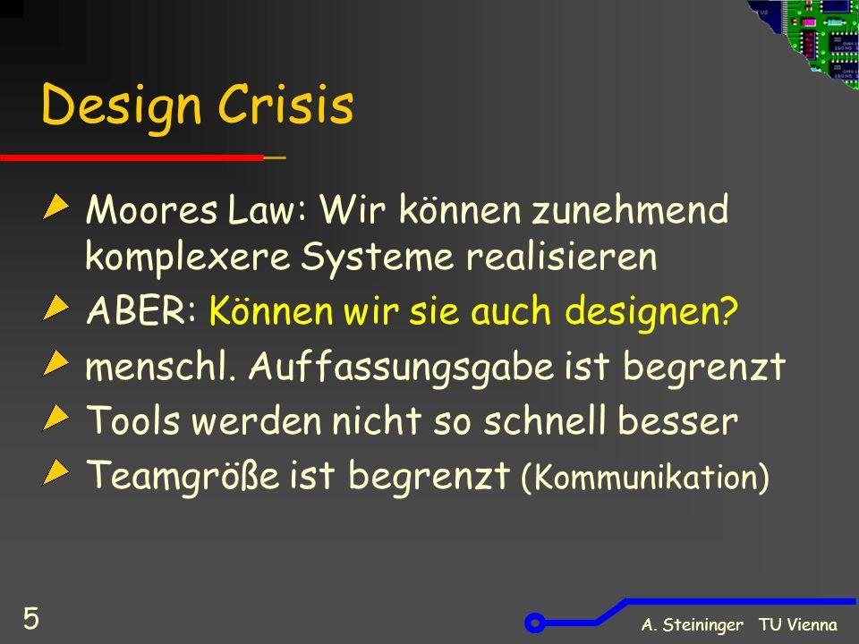 Design Crisis Moores Law: Wir können zunehmend komplexere Systeme realisieren. ABER: Können wir sie auch designen