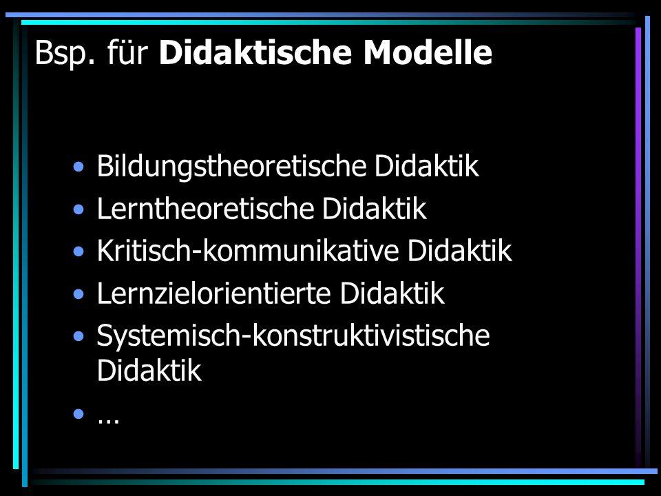 Bsp. für Didaktische Modelle