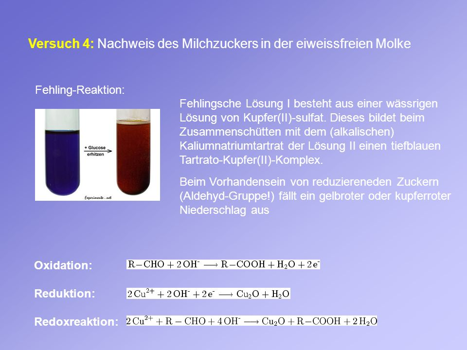 Versuch 4: Nachweis des Milchzuckers in der eiweissfreien Molke