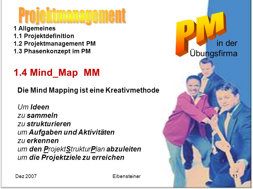 Projektmanagement 1.4 Mind_Map MM in der Übungsfirma