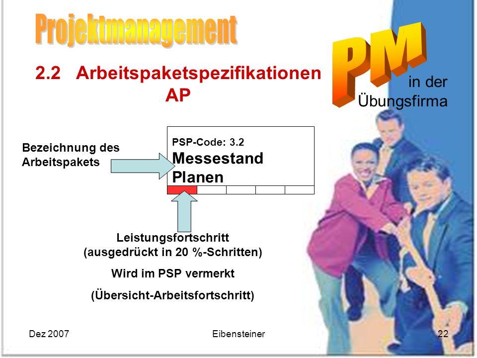 Projektmanagement 2.2 Arbeitspaketspezifikationen AP