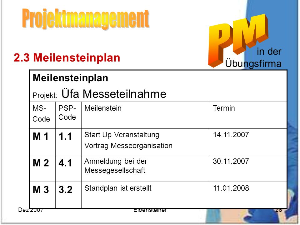 Projektmanagement 2.3 Meilensteinplan in der Übungsfirma