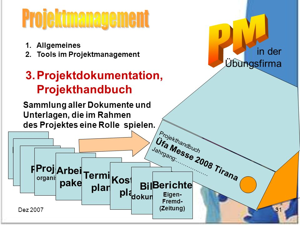 Projektmanagement Projektdokumentation, in der Übungsfirma MM PSP