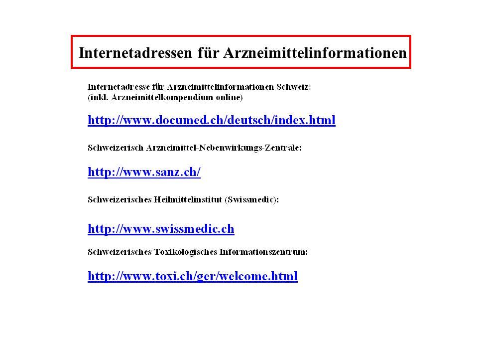 Internetadressen für Arzneimittelinformationen