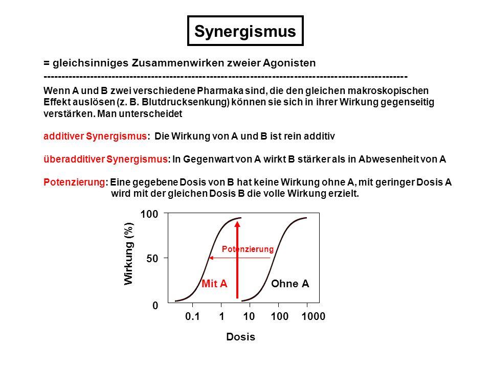 Synergismus = gleichsinniges Zusammenwirken zweier Agonisten